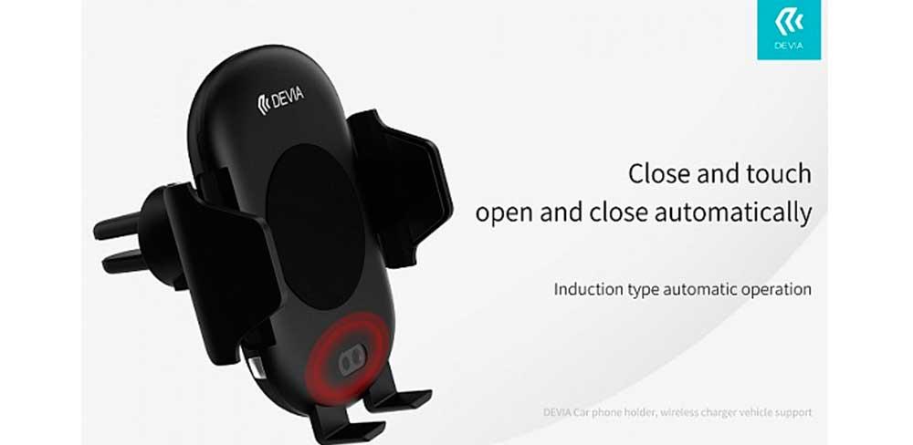 Держатель-автомобильный-беспроводная-зарядка-Devia-Infrared-Sensor,-чёрный-описание
