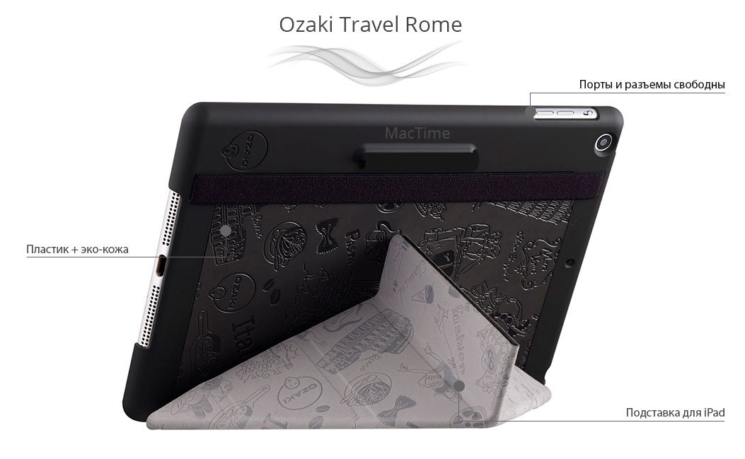 Описание кейса Ozaki для iPad Air 2 O!coat Travel Rome