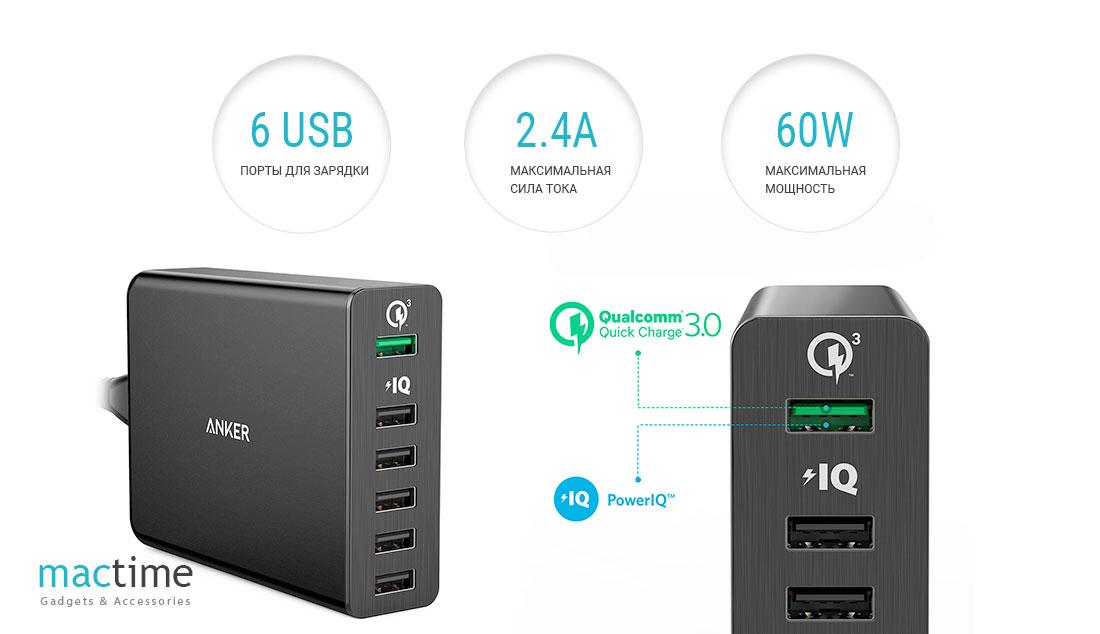 Сетевое зарядное устройство Anker PowerPort, 6 USB, 2.4 А