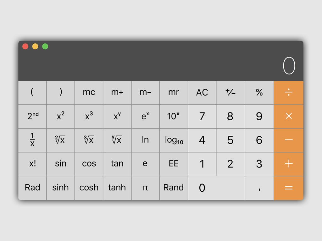 Инженерный режим калькулятора в macOS