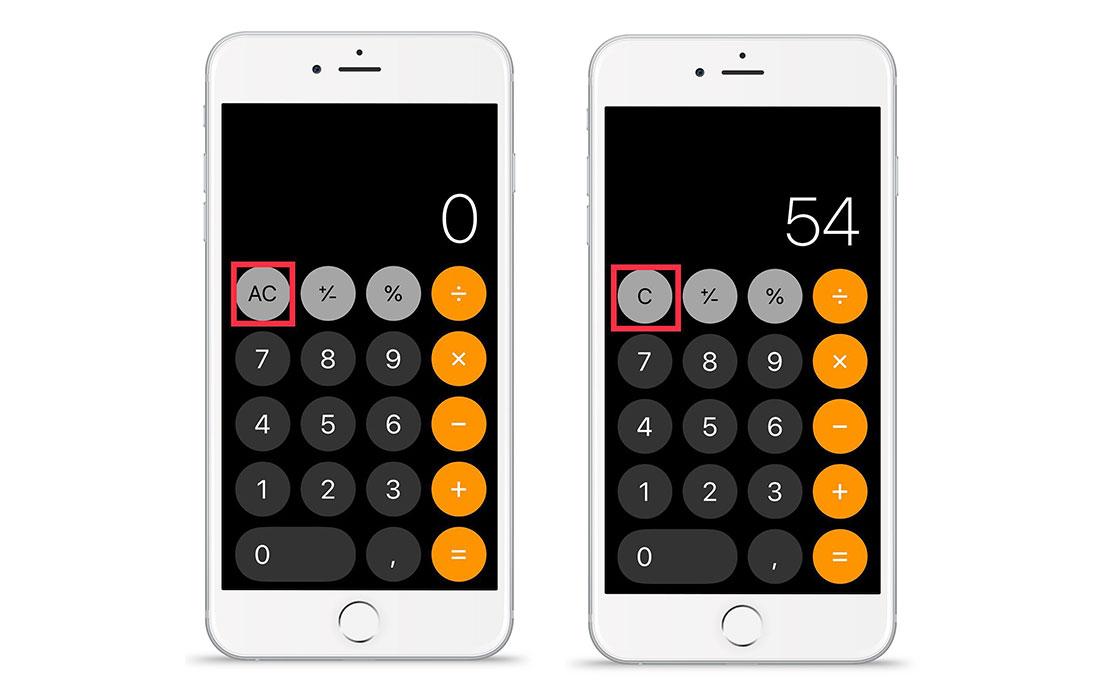 Клавиши калькулятора в iOS