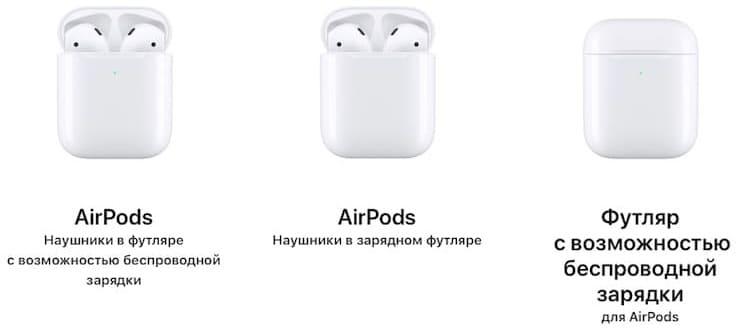 Модели беспроводных наушников AirPods