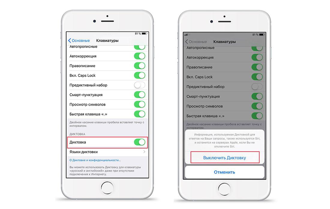Диктовка текста на iOS