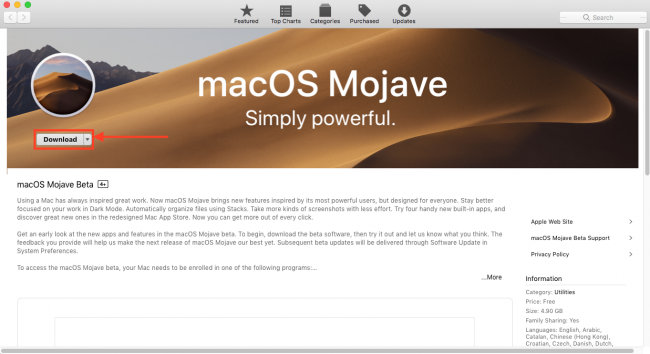 приложение macOS Mojave
