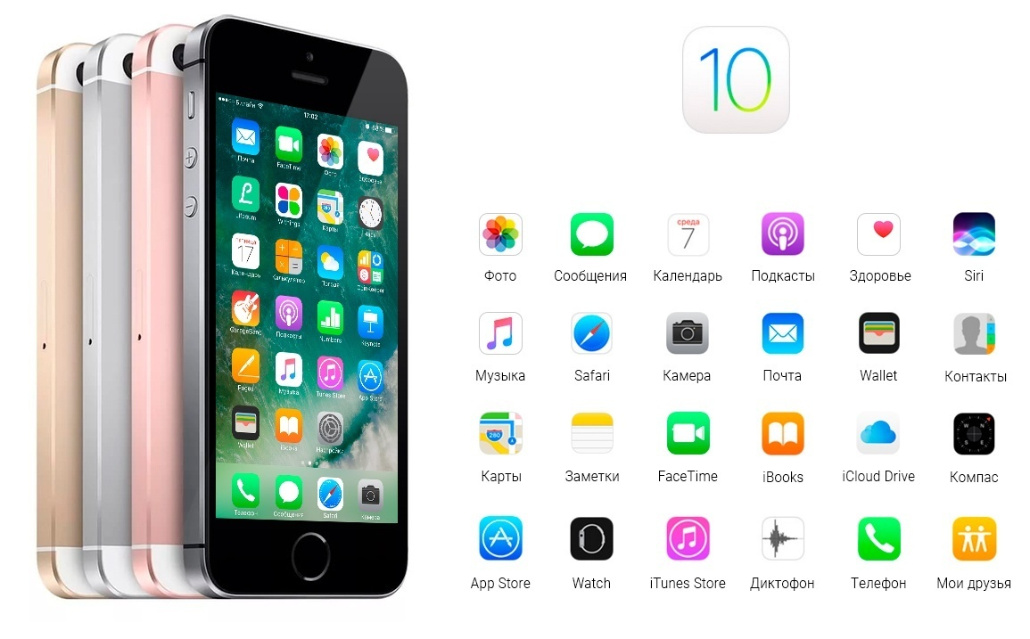 Система iOS 10 для Apple iPhone серии SE 16Gb в цвете Space Gray