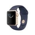 Apple Watch Series 2, 38 мм, корпус из золотистого алюминия, спортивный ремешок тёмно‑синего цвета (MQ132)
