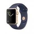 Apple Watch Series 2, 42 мм, корпус из золотистого алюминия, спортивный ремешок тёмно‑синего цвета (MQ152)