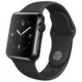 Apple Watch 38 мм, черный космос, черный спортивный ремешок 130-200 мм (MLCK2)