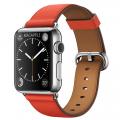 Apple Watch 38 мм, нержавеющая сталь, ремешок красного цвета с классической пряжкой 130–195 мм (MMF82)