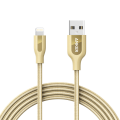 Кабель Anker PowerLine+ USB-Lightning, 1,8м, кевлар, 6000+ перегибов, золотой (A8122HB1)