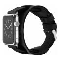Кожаный ремешок Cozistyle Wide Leather Band для Apple Watch, черный-фото