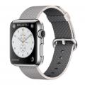 Apple Watch 38 мм, нержавеющая сталь, ремешок из плетеного нейлона жемчужного цвета 125–195 мм (MMFH2)