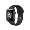"""Apple Watch Series 2, 38 мм, корпус из нержавеющей стали цвета """"чёрный космос"""", спортивный ремешок чёрного цвета (MP492)"""