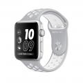 "Apple Watch Nike+ 42 мм, корпус из серебристого алюминия, спортивный ремешок Nike цвета ""листовое серебро/белый"" (MNNT2)"