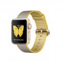 """Apple Watch Series 2, 38 мм, корпус из золотистого алюминия, ремешок из плетёного нейлона цвета """"жёлтый/светло‑серый"""" (MNP32)"""