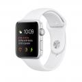 Apple Watch Series 1, 42 мм, корпус из серебристого алюминия, спортивный ремешок белого цвета (MNNL2)