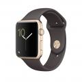 """Apple Watch Series 1, 42 мм, корпус из золотистого алюминия, спортивный ремешок цвета """"тёмное какао"""" (MNNN2)"""