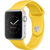 Apple Watch Sport 42 мм, серебристый алюминий, спортивный ремешок жёлтого цвета (MMFE2)