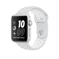 Apple Watch Nike+ 42 мм, корпус из серебристого алюминия, спортивный ремешок Nike цвета «чистая платина/белый» (MQ192)