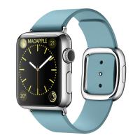 Apple Watch 38 мм, нержавеющая сталь, ремешок цвета «полярная лазурь» с современной пряжкой 160–180 мм (MMFC2)