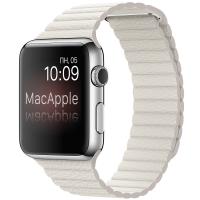 Apple Watch 42 мм, нержавеющая сталь, кожаный ремешок белого цвета 150–185 мм (MMFV2)