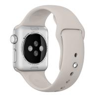 "Фото спортивного ремешка для Apple Watch 38 мм, бежевый ""каменный"""