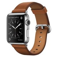 Apple Watch 38 мм, нержавеющая сталь, ремешок золотисто-коричневого цвета с классической пряжкой 130–195 мм (MMF72)