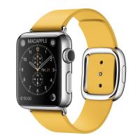 Apple Watch 38 мм, нержавеющая сталь, ремешок 145–165 мм цвета «весенняя мимоза» с современной пряжкой (MMFF2)