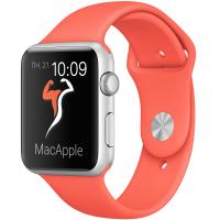 Apple Watch Sport 42 мм, серебристый алюминий, спортивный ремешок абрикосового цвета (MMFL2)