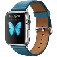 Apple Watch 42 мм, нержавеющая сталь, ремешок цвета «океанская синева» с классической пряжкой 150–215 мм (MMFU2)