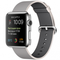 Apple Watch 42 мм, нержавеющая сталь, ремешок из плетеного нейлона жемчужного цвета 145–215 мм (MMG02)