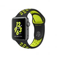 """Apple Watch Nike+ 38 мм, корпус из алюминия цвета """"серый космос"""", спортивный ремешок Nike цвета """"чёрный/салатовый"""" (MP082)"""