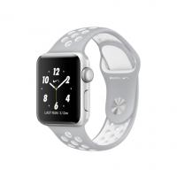 "Apple Watch Nike+ 38 мм, корпус из серебристого алюминия, спортивный ремешок Nike цвета ""листовое серебро/белый"" (MNNQ2)"