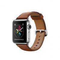 Apple Watch Series 2, 38 мм, корпус из нержавеющей стали, ремешок золотисто-коричневого цвета с классической пряжкой (MNP72)
