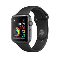 """Apple Watch Series 2, 42 мм, корпус из алюминия цвета """"серый космос"""", спортивный ремешок чёрного цвета (MP062)"""