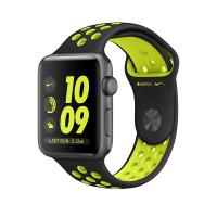 """Apple Watch Nike+ 42 мм, корпус из алюминия цвета """"серый космос"""", спортивный ремешок Nike цвета """"чёрный/салатовый"""" (MP0A2)"""