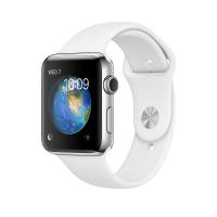 Apple Watch Series 2, 42 мм, корпус из нержавеющей стали, спортивный ремешок белого цвета (MNPR2)