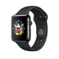 """Apple Watch Series 2, 42 мм, корпус из нержавеющей стали цвета """"чёрный космос"""", спортивный ремешок чёрного цвета (MP4A2)"""