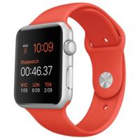 Apple Watch Sport 42 мм, серебристый алюминий, спортивный ремешок оранжевый цвета (MLC42)