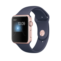 "Apple Watch Series 1, 42 мм, корпус из алюминия цвета ""розовое золото"", спортивный ремешок тёмно‑синего цвета (MNNM2)"