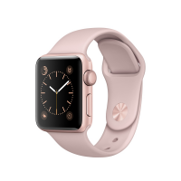 """Apple Watch Series 1, 38 мм, корпус из алюминия цвета """"розовое золото"""", спортивный ремешок цвета """"розовый песок"""" (MNNH2)"""