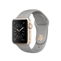 """Apple Watch Series 1, 38 мм, корпус из золотистого алюминия, спортивный ремешок цвета """"серый камень"""" (MNNJ2)"""