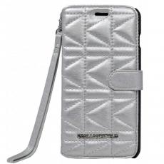 Фото чехла-книжки для iPhone 6 Plus / 6s Plus Lagerfeld Kuilted, серебряный