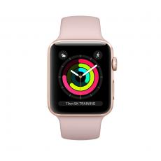 """Apple Watch Series 3, 38 мм, корпус из золотистого алюминия, спортивный ремешок цвета """"розовый песок"""", фото 1"""