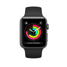 """Apple Watch Series 3, 42 мм, корпус из алюминия цвета """"серый космос"""", спортивный ремешок чёрного цвета, фото 1"""