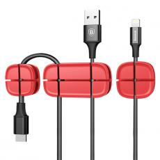 Держатель для проводов Baseus Cross Peas Cable Clip, красный, фото 4