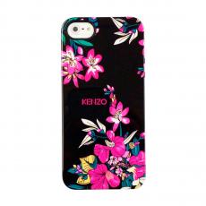 """Чехол KENZO TPU для iPhone 5, 5S и SE, чёрный, принт """"цветы"""", фото 1"""