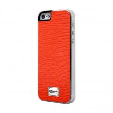 Фото чехла Patchworks Classique Snap Leather Lizard Navy для iPhone 5, 5S и SE, оранжевого