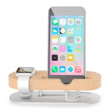 Подставка из бамбука Seenda, для iPhone и Apple Watch, светлое дерево, фото 1
