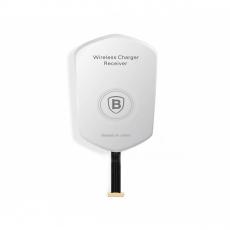 Переходник Baseus для беспроводной зарядки QI wireless charging receiver Apple, серый/белый